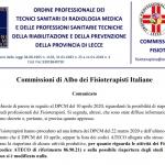 Comunicato 14/04/2020 – Commissioni di Albo dei Fisioterapisti